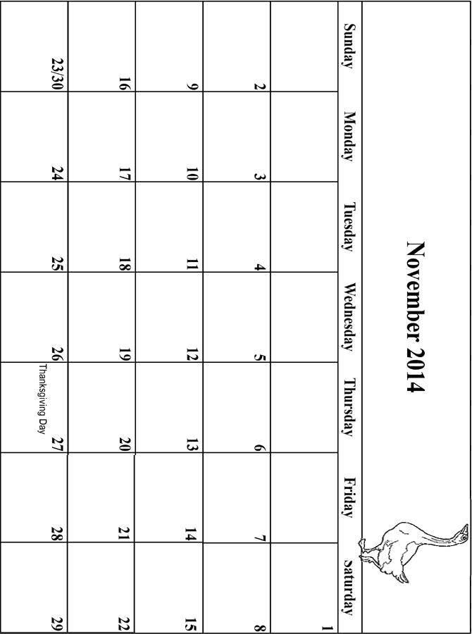 2014 Coloring Calendar Grid November